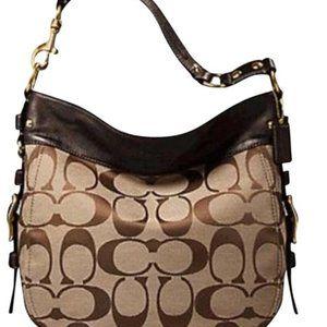 Zoe Signature Brown & Tan Canvas Leather Hobo Bag